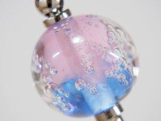 しゅわしゅわとんぼ玉のかんざし ピンク✕藍鼠の画像