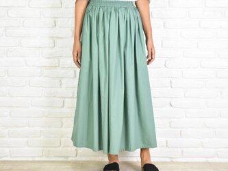 大人のふんわりギャザーロングスカート ミントグリーンの画像