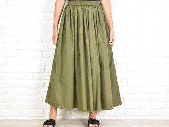 大人のふんわりギャザーロングスカート カーキグリーンの画像