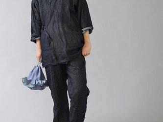 【wafu】岡山県産リネン100% デニム 作務衣 上下セット 和装 男女兼用/ダークインディゴ r008k-din3の画像