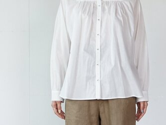 cotton loan gathered blouse  [off-white]の画像
