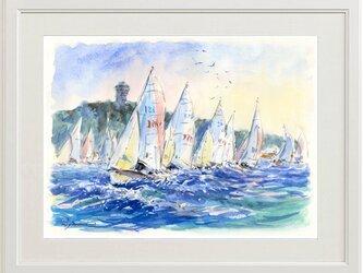 水彩画原画 帆走ヨット・江の島沖 #461の画像