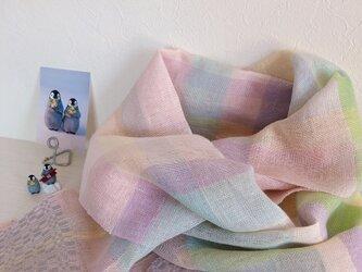 *手織り*パステルキャンディカラーのリネンストールの画像
