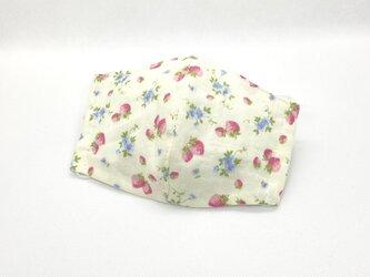 大人用立体マスク いちご摘み クリームピンクの画像