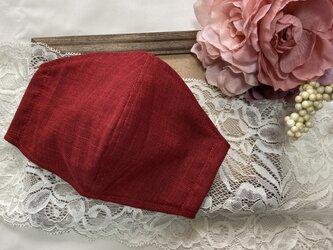 夏彩り 紅色~ベニ色 (無地①カラーE)手紡ぎ風ムラ糸クロス使用 オーダーマスク サイズ・裏地選択可 の画像