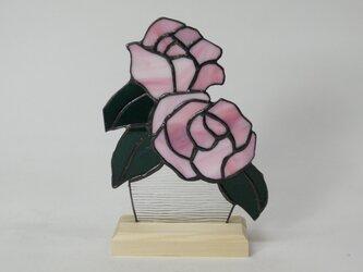 ステンドグラス 薔薇パネル ピンク Aの画像