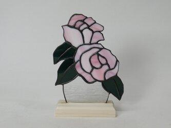 ステンドグラス 薔薇パネル ピンク Bの画像