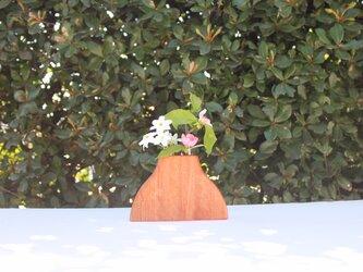 木の花瓶【カバ】二輪挿しの画像