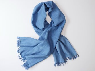 エシカルヘンプ平織りストール 正藍染め藍色 78cm幅の画像
