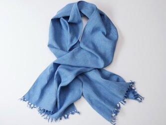 エシカルヘンプ平織りストール 正藍染め藍色 52cm幅の画像