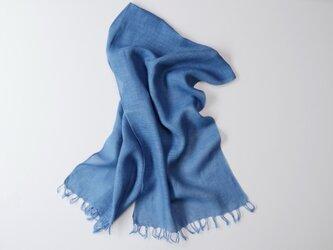 エシカルヘンプ手織りストール 正藍染め藍色 小判の画像