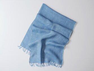 エシカルヘンプ手織りストール 正藍染め縹色 小判の画像