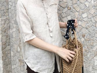 ☆受注製作 ストライプシャツ 亜麻 シャツ ゆったり コットンリネン 五分袖シャツの画像
