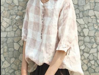 ☆受注製作 チェック柄のクルーネック コットン リネンのシャツ 亜麻 プルオーバーシャツ 五分袖 ゆったりの画像