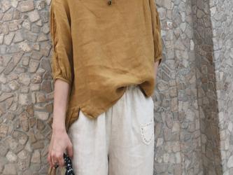 ☆受注製作 夏 プルオーバーシャツ ゆったり スリーブ コットン コットンリネン イェローの画像