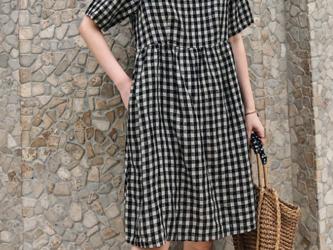 ☆受注製作 ドレス ワンピース コットンリネン ゆったり スリーブ 半袖 ミドル丈ドレス チェック柄の画像
