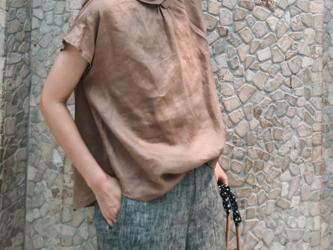 ☆受注製作 夏 コットンリネン ゆったり スリーブ 半袖シャツ ホワイトの画像