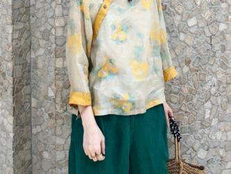 ☆受注製作 春夏 九分袖シャツ  コットンリネンラシャツ ゆったり スリーブ  薄手 トップスの画像