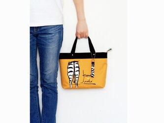 オリジナルデザイン!シマウマのお尻柄ミニトートバッグ・ストラップ付き(黄茶・ブラウンゴールド)の画像