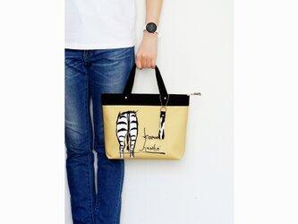 オリジナルデザイン!シマウマのお尻柄ミニトートバッグ・ストラップ付き(黄色ベージュ)の画像