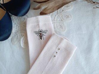 【S-Mサイズ 刺繍ソックス】Pink × Jasmineの画像