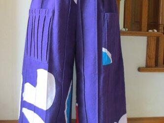 古布リメイク 大漁旗(紫色)ピンタックパンツ オリジナル ハンドメイド 一点物 の画像