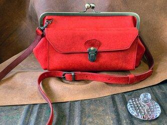 『受注製作品』長財布が入るamico(M) イタリアンレザープエブロ 赤の画像