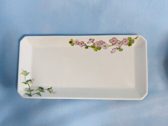 八角長皿 紫陽花と露草絵の画像