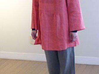 リネン スタンドカラーピンタック チュニックの画像