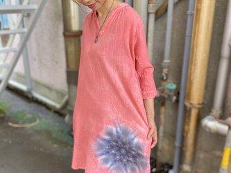タイダイ染め 七分袖チュニック 優しい紅色に幻想的な曼荼羅模様 Hippies Dye新作 HD13-82の画像