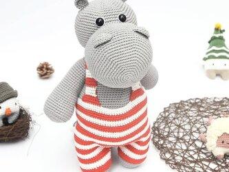 あみぐるみ カバ 編みぐるみ プレゼント ハンドメイド 男の子 出産祝い 女の子 お部屋飾り 手編みの画像
