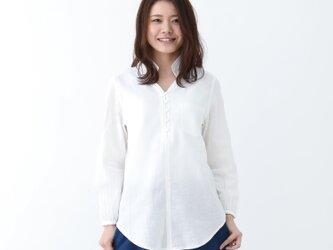 『 Tomo 』 オールシーズン コットン100%  ガーゼ素材 チュニックシャツ 白の画像