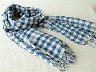 手織り・藍染め リネン大判ストール 紺×白の画像