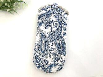 メガネケース ペイズリー 白×青の画像