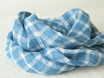 手織り・藍染め 麻プチマフラー 浅葱色×白の画像