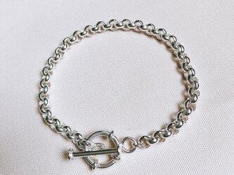シルバーロールチェーンブレス(swim ring) Sサイズの画像