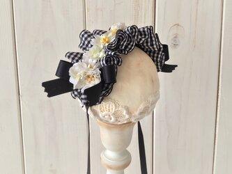 ドール用レースと染め花のヘッドドレス(M・チェック・ホワイト×ライトグリーン)の画像