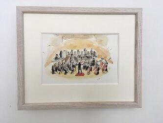 額付きアート「演奏会」水彩画 原画の画像