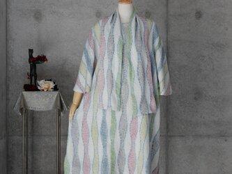 着物リメイク フレアー袖のチュニック/ 立涌文の絞り/ストール付きの画像