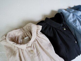 canvas washer french linen/gather blouse/short(size1)/blackの画像