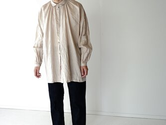 canvas washer French linen/gather blouse/long(size2)/beigeの画像