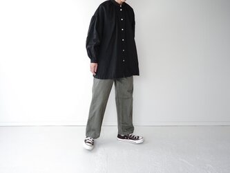 canvas washer French linen/gather blouse/long(size2)/blackの画像