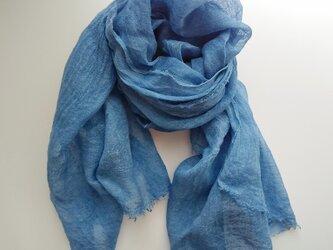 ふんわり柔らかい リネンガーゼストール 草木染め 藍染め*大判の画像