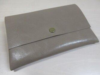 A6、お薬手帳、母子手帳対応・ゴートスキン・一枚革のマルチケース・カードポケット付き・0231の画像