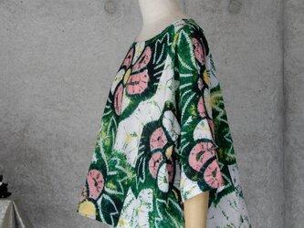 着物リメイク 有松絞りのチュニックブラウス/M〜Lの画像