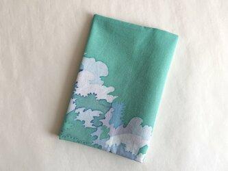 ろうけつ染ブックカバー(文庫用・木綿・緑系B)の画像