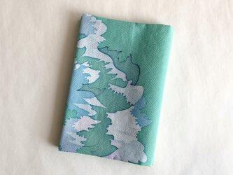 ろうけつ染ブックカバー(文庫用・木綿・緑系C)の画像