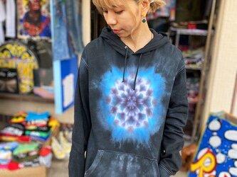 タイダイ染めフーディ  プルオーバー パーカー Hippies Dye最新作 曼荼羅 L ブラックビューティ HD13-84の画像