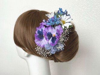 パンジーと紫陽花のヘッドドレス パープル ブルー アーティフィシャルフラワー 髪飾り 成人式 ヘッドドレス ウェディングの画像