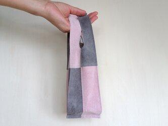 ◆新作◆ 一点物 ガーラのようなエコバッグ (S ハーフ) ライトピンクとグレーの画像